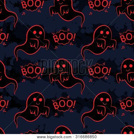 Abstract Seamless Halloween Pattern For Girls Or Boys. Creative Vector Pattern With Ghost, Cloud Boo