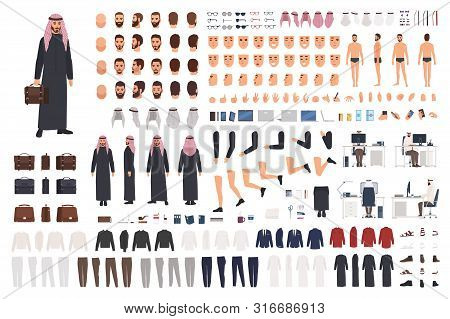 Arab Businessman In Traditional Formal Clothes Diy Set Or Avatar Kit. Bundle Of Body Parts, Postures