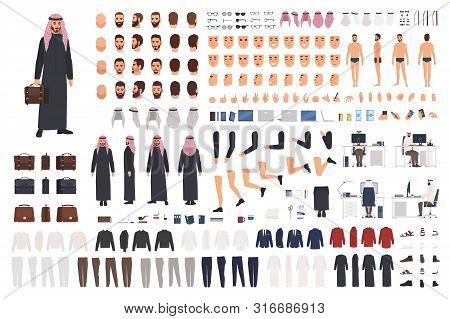 Arab Businessman In Traditional Formal Clothes Diy Set Or Avatar Kit. Bundle Of Body Parts, Postures