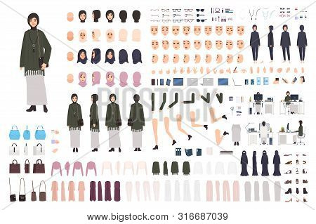 Modern Arab Woman In Traditional Clothes Diy Set Or Constructor Kit. Collection Of Body Parts, Postu