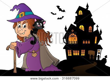 Witch With Cat Topic Image 5 - Eps10 Vector Picture Illustration.