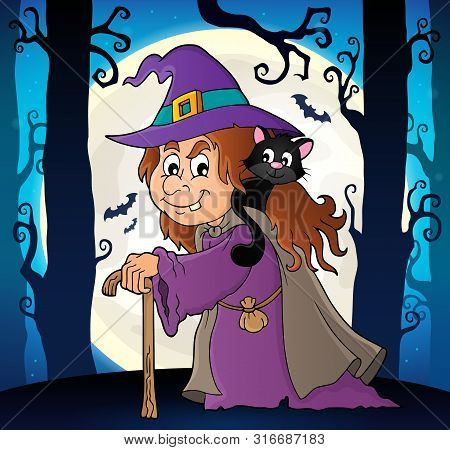 Witch With Cat Topic Image 6 - Eps10 Vector Picture Illustration.