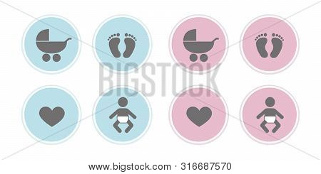 Blue And Pink Set Of Baby Icons Feet Footprint Heart And Stroller Vector Illustration Eps10