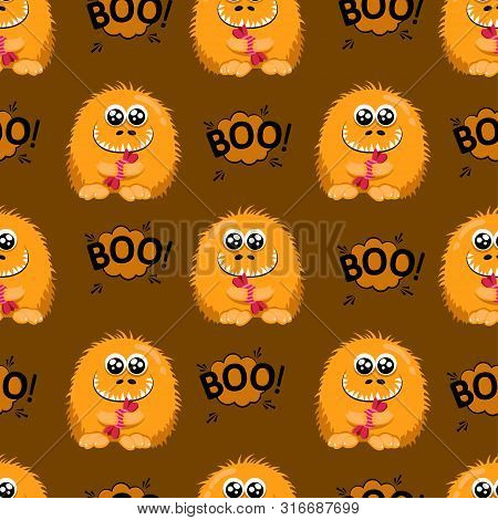 Abstract Seamless Halloween Pattern For Girls Or Boys. Creative Vector Background With A Fluffy Cute