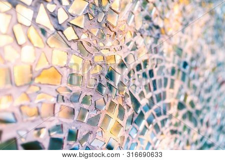Reflection Of The Setting Sun In The Mirror Pieces Of Glass Mosaic - Abstract Background - Shallow D