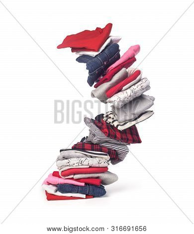Stack Of Clothing Isolated On White Background