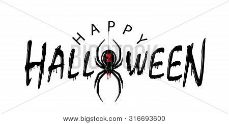 Happy Halloween Card. Drip Text, Spider Isolated White Background. Greeting Design Banner, Halloween