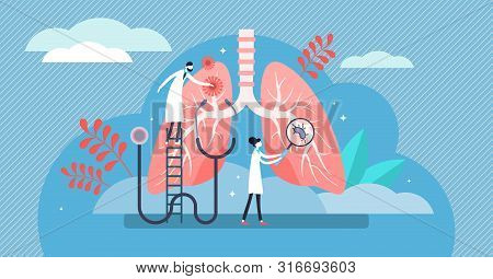 Pulmonology Vector Illustration. Flat Tiny Lungs Healthcare Persons Concept. Abstract Respiratory Sy