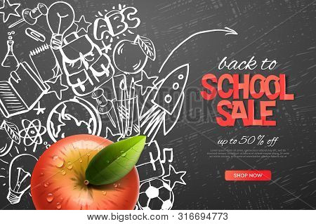 Back To School Sale Template. Realistic Red Apple On Outline Doodle School Background, Vector Illust