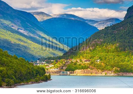Olden, Norway, Norwegian Fjord And Summer Mountains Panoramic Landscape