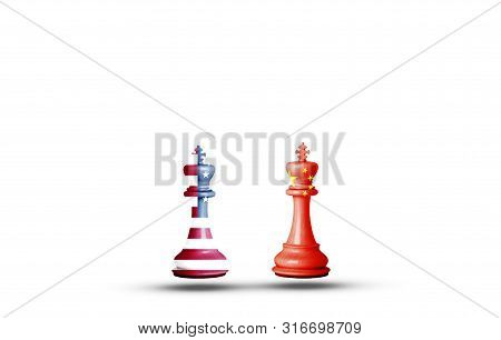 Usa And China Flag Print Screen On King Chess With White Background.it Is Symbol Of Economic Tariffs