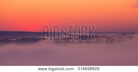 Panoramic View Of Sunrise On Misty Valley Of Siverskiy Donets River, Zmiiv, Ukraine