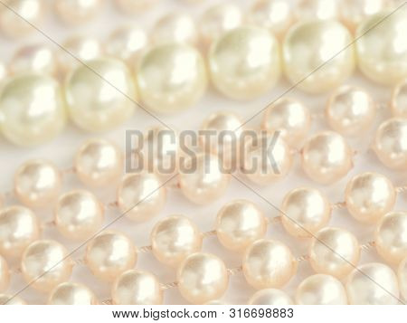 White Pearls Texture. Close Up View, Selective Focus Image