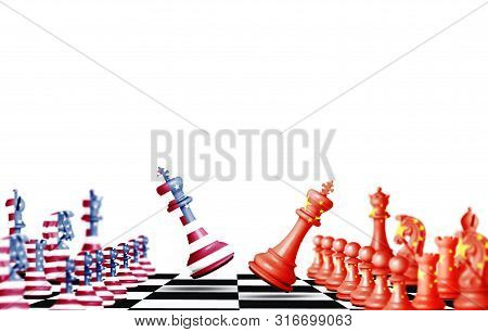Usa And China Flag Print Screen On  Chess With White Background.it Is Symbol Of Economic Tariffs Tra