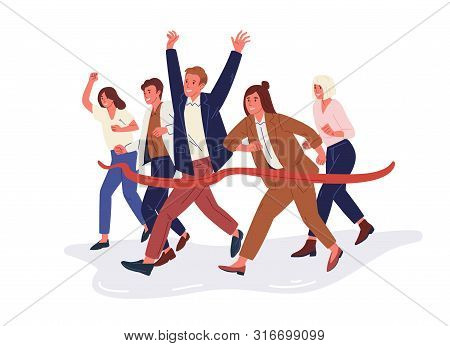 Joyful Office Workers Or Clerks Crossing Finish Line And Tearing Red Ribbon. Concept Of People Takin