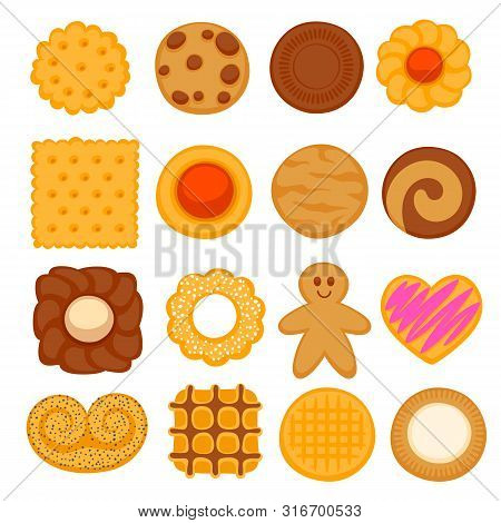 Assorted Colorful Cookies Set. Crispy Biscuits Vector Illustration.