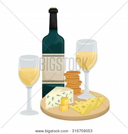 Two Glasses Of White Wine, Cheese Platter On A Wooden Board With Crackers? Bottle Of Wine. Maasdam,