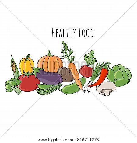 Colored Doodle Vegetables Isolated On White Background.