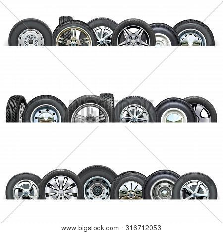 Vector Car Wheels Borders Isolated On White Background