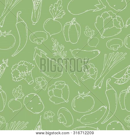 Hand Drawn Seamless Pattern With Vegetables. Big Vegetable Collection.