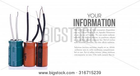 Electrolytic Capacitor Electronic Detal On White Background Isolation