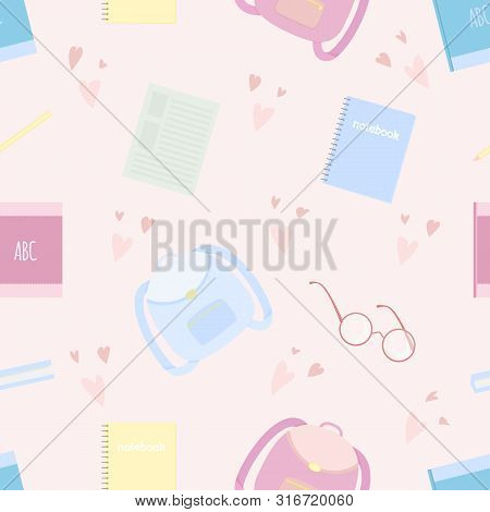Vector Seamless Pattern With School Satchel, Pencils, Glasses And Hearts On Pink Background. For Dec