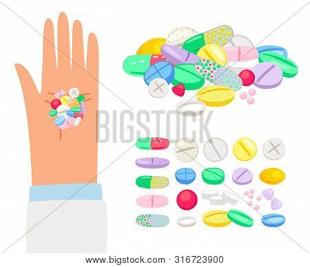 Colored Pills And Tablet In Human Hand. Vector Hand With Pile Of Pills, Healthcare Medication Illust