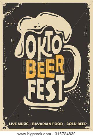 Oktoberfest Promotional Poster Design Idea With Beer Mug. Beer Festival Flyer Concept On Dark Backgr