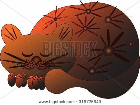 Cute And Funny Sweet Red Cat Character, Standing With Eyes Closed From Pleasure, Cartoon Vector Illu