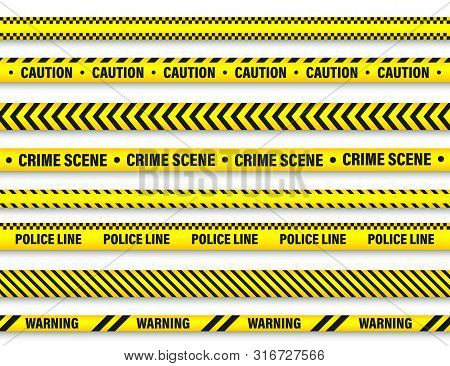 Yellow And Black Barricade Construction Tape Collection. Police Warning Line. Brightly Colored Dange