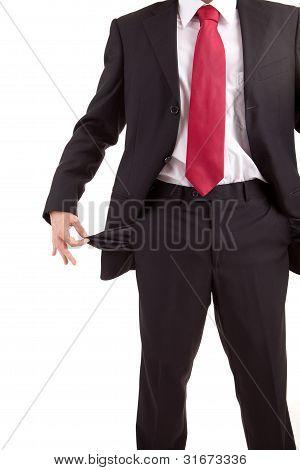 Man Holding Empty Pocket