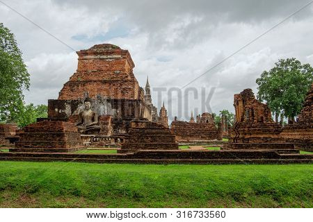 The Sukhothai Historical Park Contains The Ruins Of Old Sukhothai. Asalha Puja Day Or Sangha Day Is