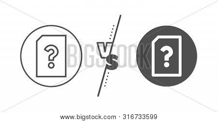 File With Question Mark Sign. Versus Concept. Unknown Document Line Icon. Untitled Paper Page Concep