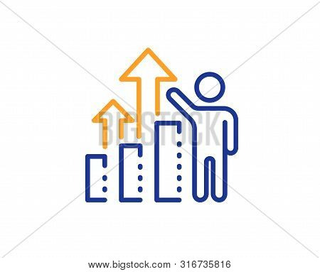 Work Result Sign. Employee Results Line Icon. Statistics Chart Symbol. Colorful Outline Concept. Blu
