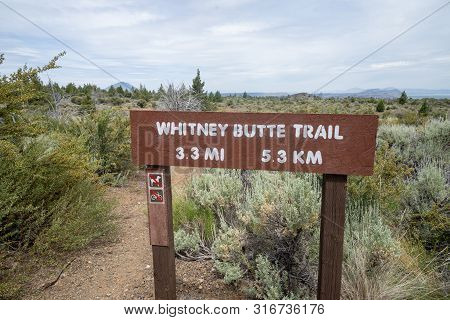 Sign For The Whitney Butte Trail Trailhead In Lava Beds National Monument In California