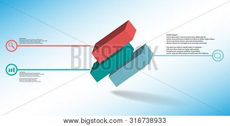 3D Illustration Infographic Template With Embossed Cube Divided To Three Shifted Parts Askew Arrange