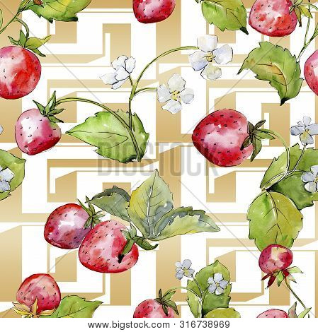 Strawberry Healthy Food. Watercolor Background Illustration Set. Seamless Background Pattern.