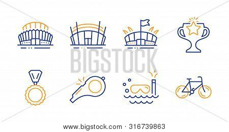 Arena Stadium, Arena And Sports Stadium Line Icons Set. Victory, Scuba Diving And Medal Signs. Whist