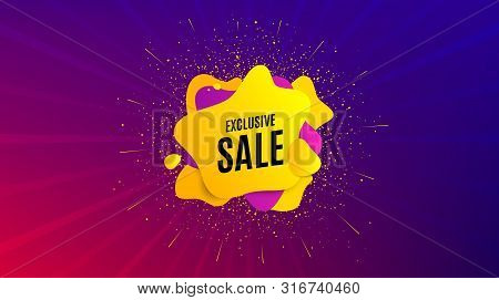 Exclusive Sale. Dynamic Text Shape. Special Offer Price Sign. Advertising Discounts Symbol. Geometri