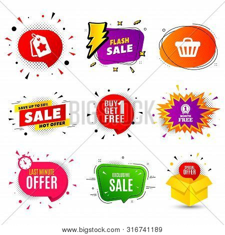 Exclusive Sale. Banner Badge, Flash Sale Bubble. Special Offer Price Sign. Advertising Discounts Sym