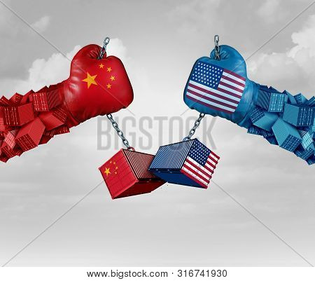 China Us Or United States Trade And American Usa Tariffs On Chinese Goods As A Conflict With Two Opp