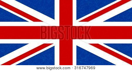 Grunge Flag Of Great Britain, Uk. Isolated English Banner With Scratched Texture. Flat Style With No