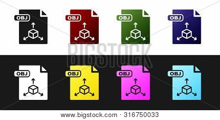 Set Obj File Document. Download Obj Button Icon Isolated On Black And White Background. Obj File Sym