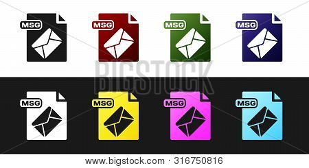 Set Msg File Document. Download Msg Button Icon Isolated On Black And White Background. Msg File Sym