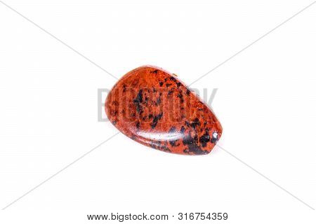 Macro Mineral Stone Obsidian On A White Background