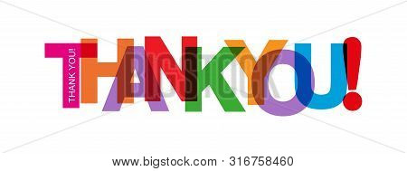 Colored Lettering Thank You! For Design And Decoration