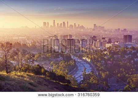 Panorama of Los Angeles at sunrise.