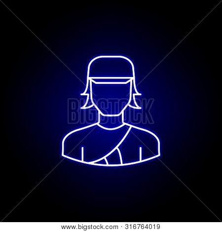 Avatar Archer Line Icon In Blue Neon Style. Signs And Symbols Can Be Used For Web Logo Mobile App Ui