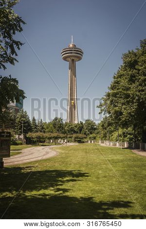 Skylon Tower Seen From Park Outside Fallsview, Niagara Falls, July 2019
