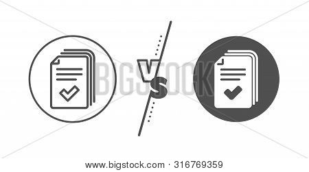 Documents Example Sign. Versus Concept. Handout Line Icon. Line Vs Classic Handout Icon. Vector